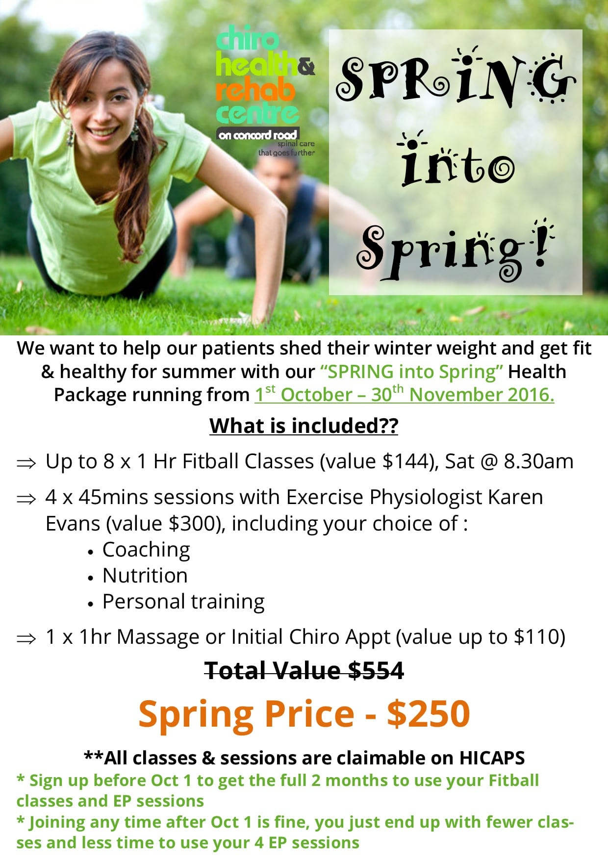 Spring into Spring | Exercise Physiology, Chiro, Massage, Fitball | Concord West Sydney